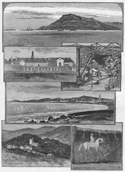 Associate Product DORSET. Portland(1880) 1898 old antique vintage print picture