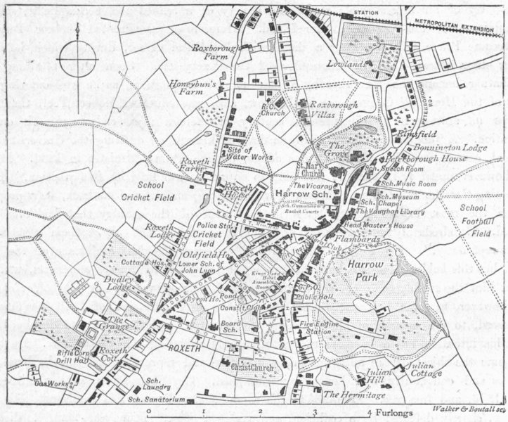 Associate Product LONDON. Harrow-on-Hill, sketch map 1898 old antique vintage plan chart