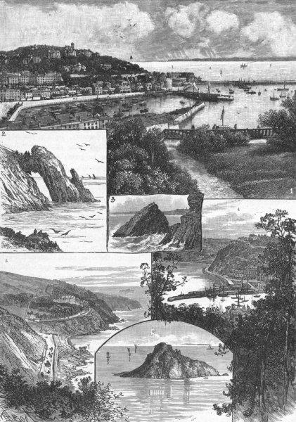 Associate Product TORQUAY. Waldon; Saddle Rock; Vane; Meadfoot; Thatcher 1898 old antique print