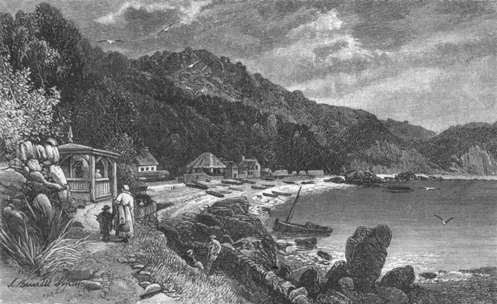Associate Product DEVON. Babbicombe Bay 1898 old antique vintage print picture