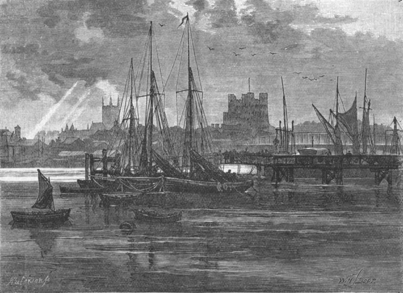 Associate Product KENT. Rochester, Medway 1898 old antique vintage print picture