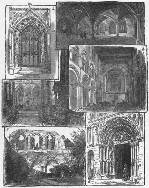 Associate Product ROCHESTER CATHEDRAL. Chapter; Crypt; Nave; Choir 1898 old antique print