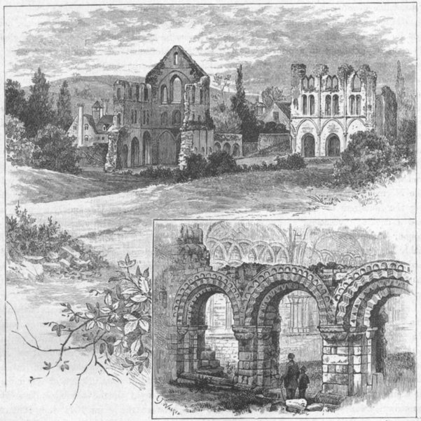 Associate Product SHROPS. Ruins, Wenlock Priory 1898 old antique vintage print picture