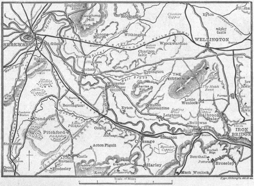 Associate Product SHROPS. Severn, Shrewsbury to Ironbridge, sketch map 1898 old antique