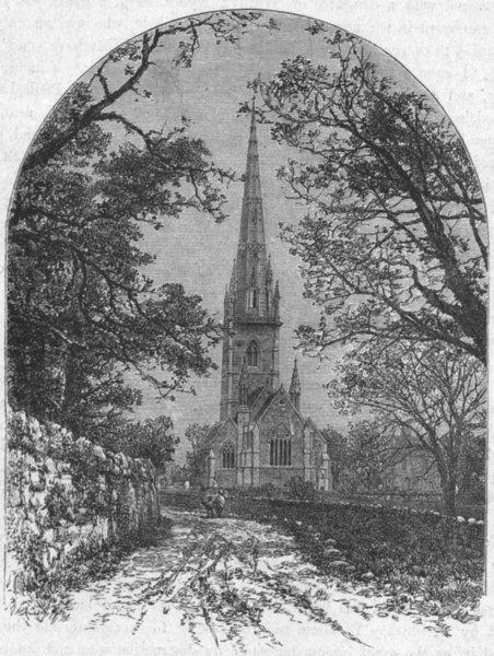 Associate Product WALES. Flintshire. Bodelwyddan Church 1898 old antique vintage print picture