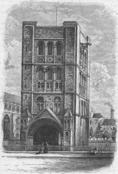 Associate Product SUFFOLK. Bury St Edmunds. Norman Tower 1898 old antique vintage print picture