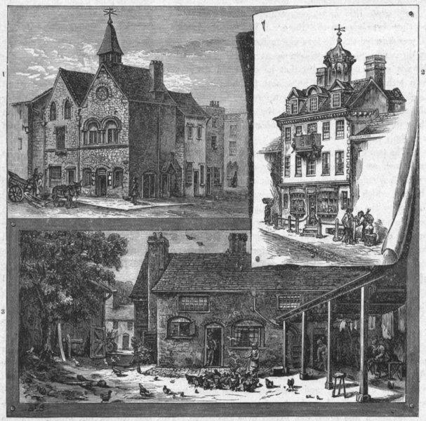 Associate Product BURY ST EDMUNDS. Jew's House; Cupola; White Hart 1898 old antique print