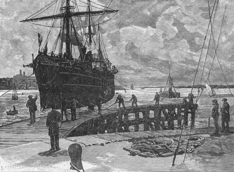 HANTS. Southampton. a ship at Docks 1898 old antique vintage print picture