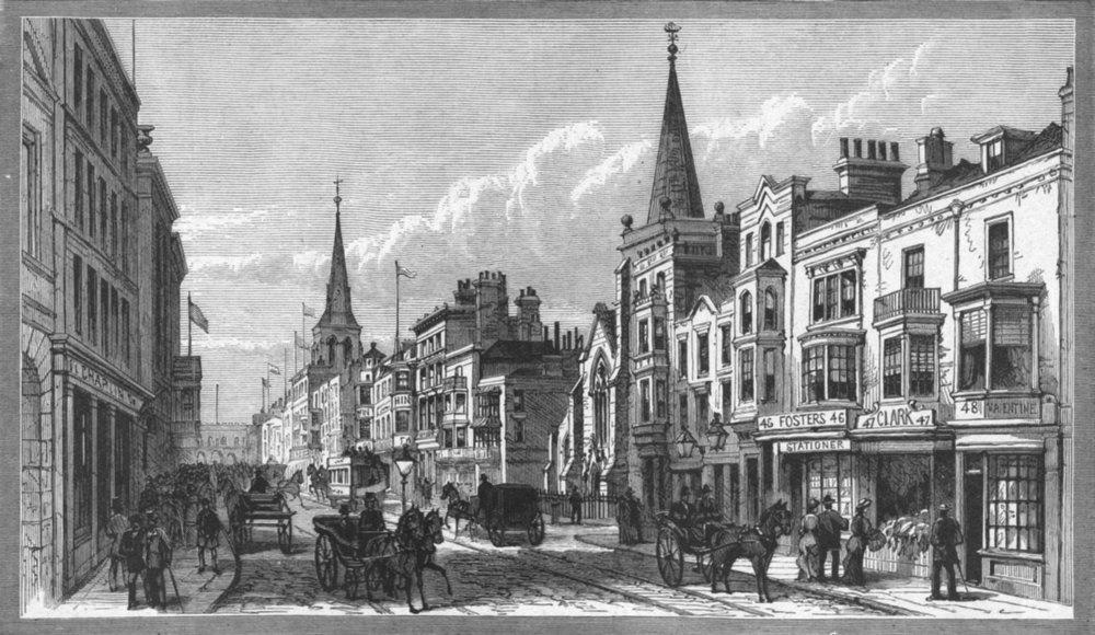 Associate Product HANTS. Southampton. High Street 1898 old antique vintage print picture