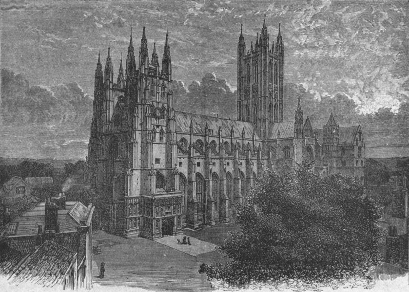 Associate Product KENT. Canterbury. cathedral south-west 1898 old antique vintage print picture