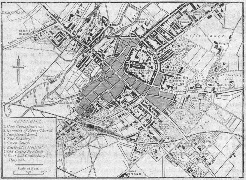Associate Product KENT. Canterbury, sketch map 1898 old antique vintage plan chart