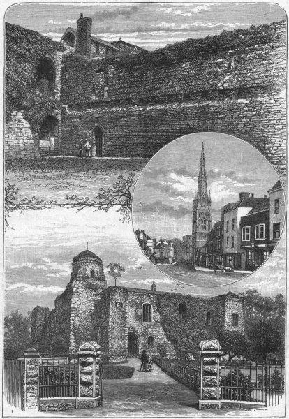 Associate Product COLCHESTER. Castle; High St, St Nicholas Church 1898 old antique print picture