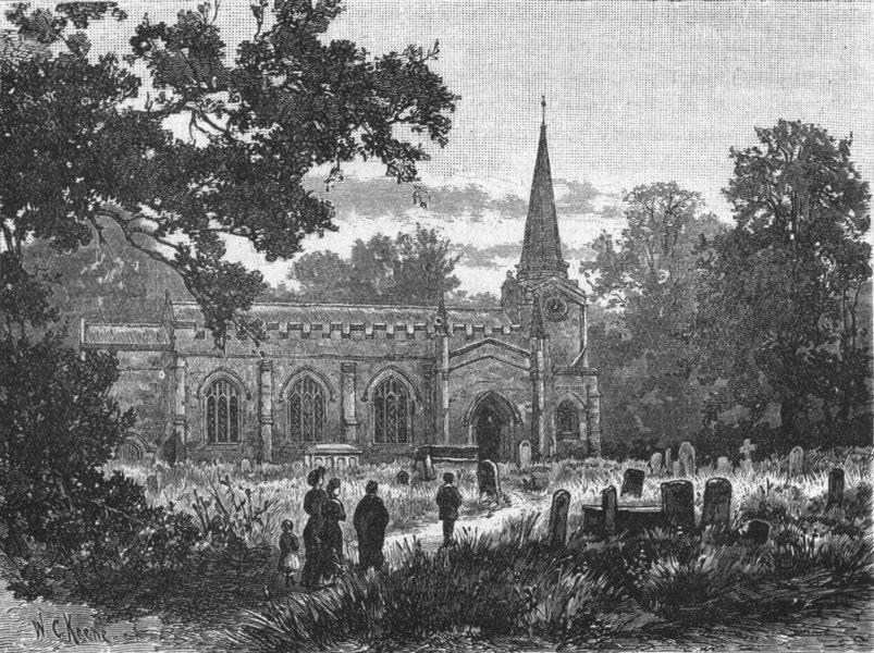 Associate Product ESSEX. Colchester. Lexden Church 1898 old antique vintage print picture