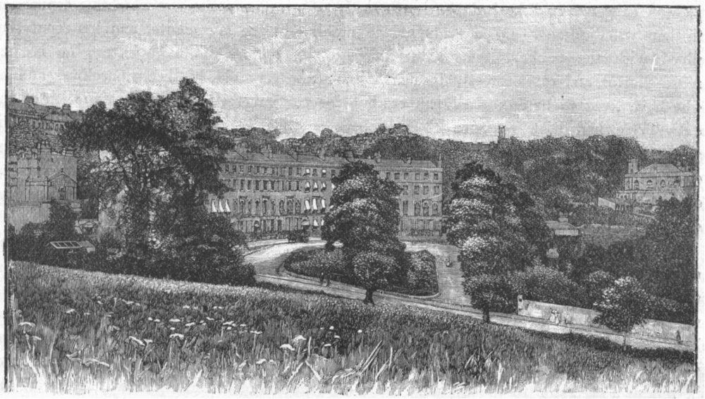 Associate Product SOMT. Bath. Cavendish Crescent 1898 old antique vintage print picture