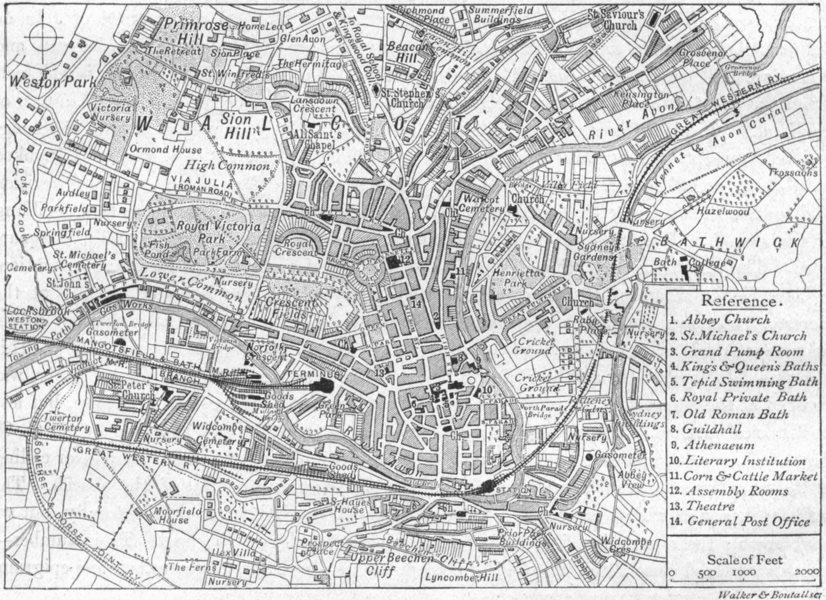 Associate Product SOMT. Bath, sketch map 1898 old antique vintage plan chart