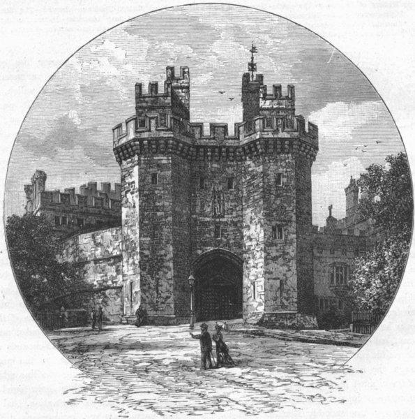 Associate Product LANCS. Gateway of Lancaster Castle 1898 old antique vintage print picture