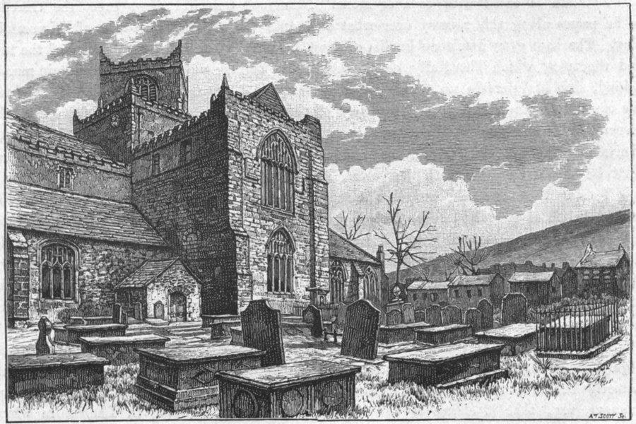 Associate Product LANCS. Cartmel Church & village 1898 old antique vintage print picture
