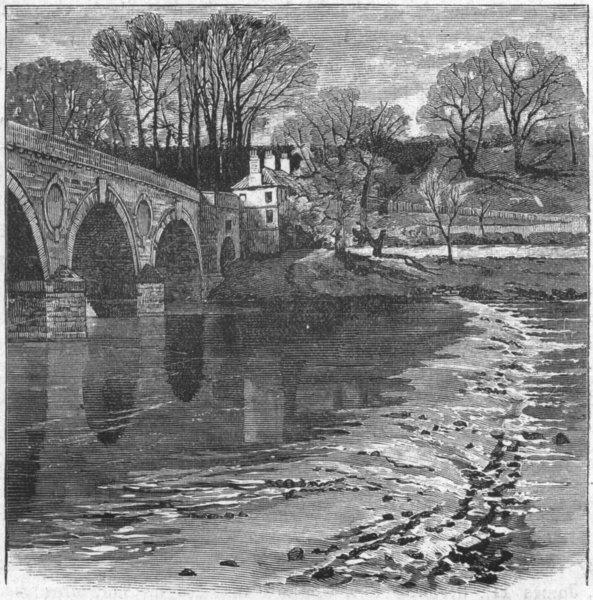 Associate Product NORTHUMBS. Tweed. Bridge at Coldstream 1898 antique vintage print picture