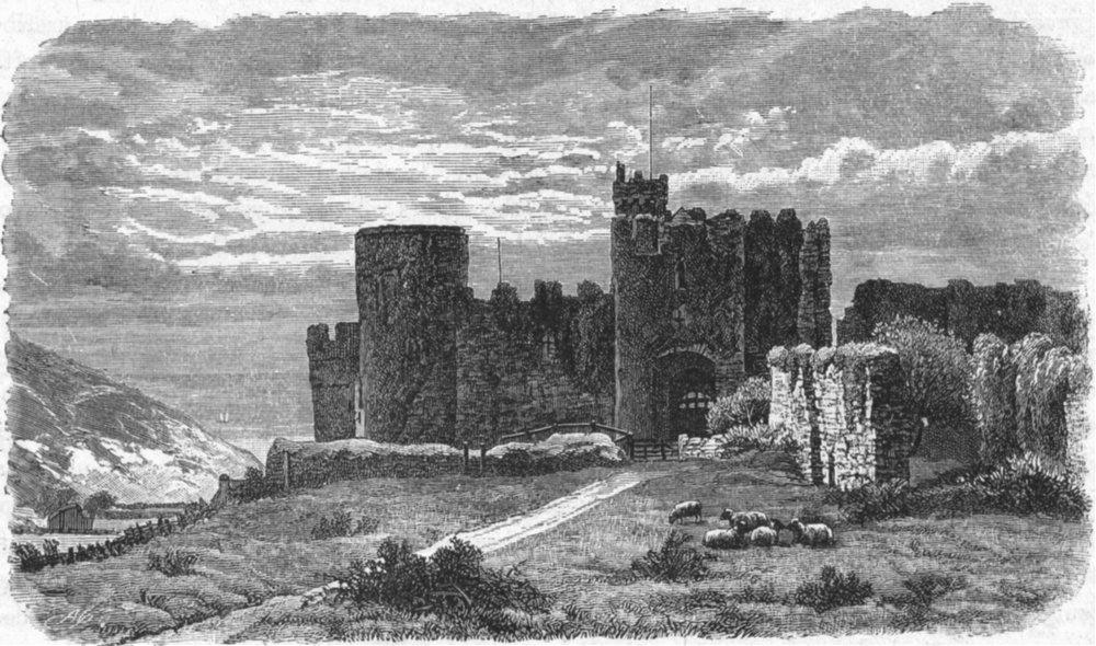 WALES. South Pembrokeshire. Manorbier Castle 1898 old antique print picture