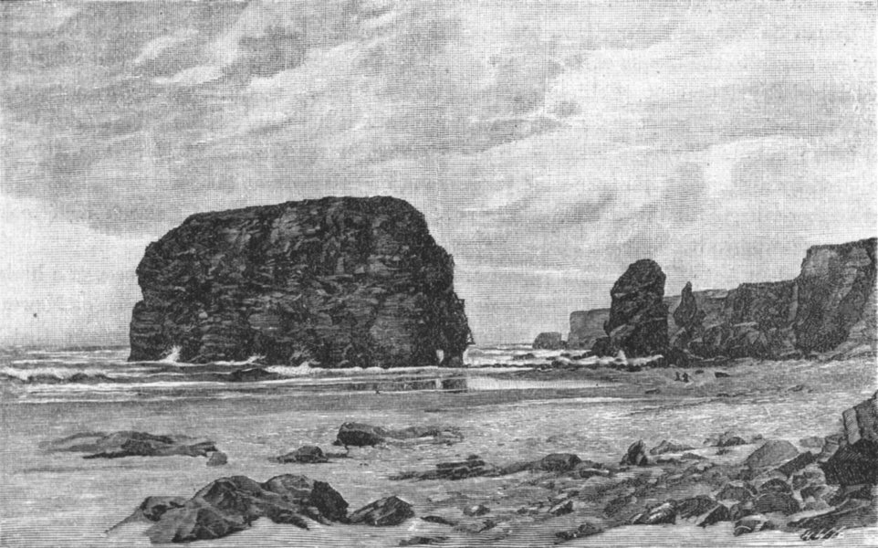 Associate Product NORTHUMBS. Tyne. Marsden Rocks 1898 old antique vintage print picture