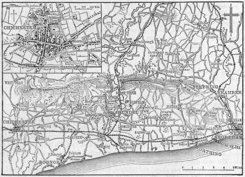 Associate Product SUSSEX. Chichester & west, sketch map 1898 old antique vintage plan chart