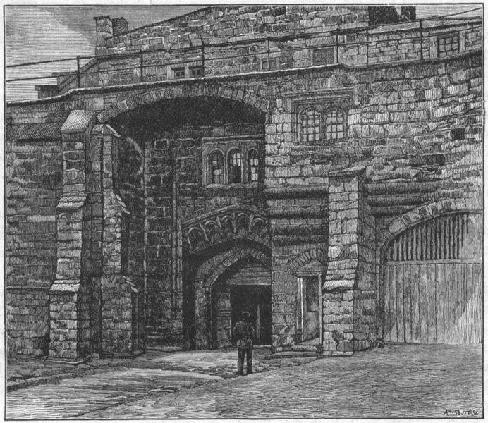 Associate Product CUMBS. Carlisle. Captain's Gate, Castle 1898 old antique vintage print picture
