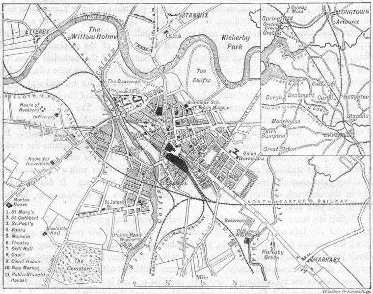 Associate Product CUMBS. Carlisle, sketch map 1898 old antique vintage plan chart