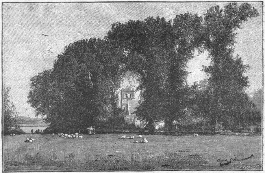Associate Product BERKS. Bisham Church 1898 old antique vintage print picture