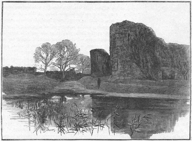 Associate Product SUSSEX. Pevensey Castle 1898 old antique vintage print picture