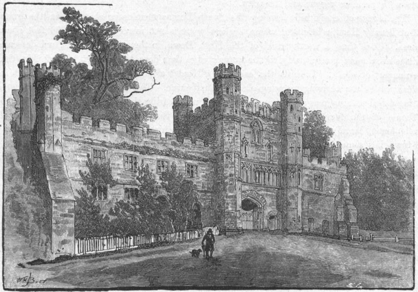 Associate Product SUSSEX. Gateway of Battle Abbey 1898 old antique vintage print picture