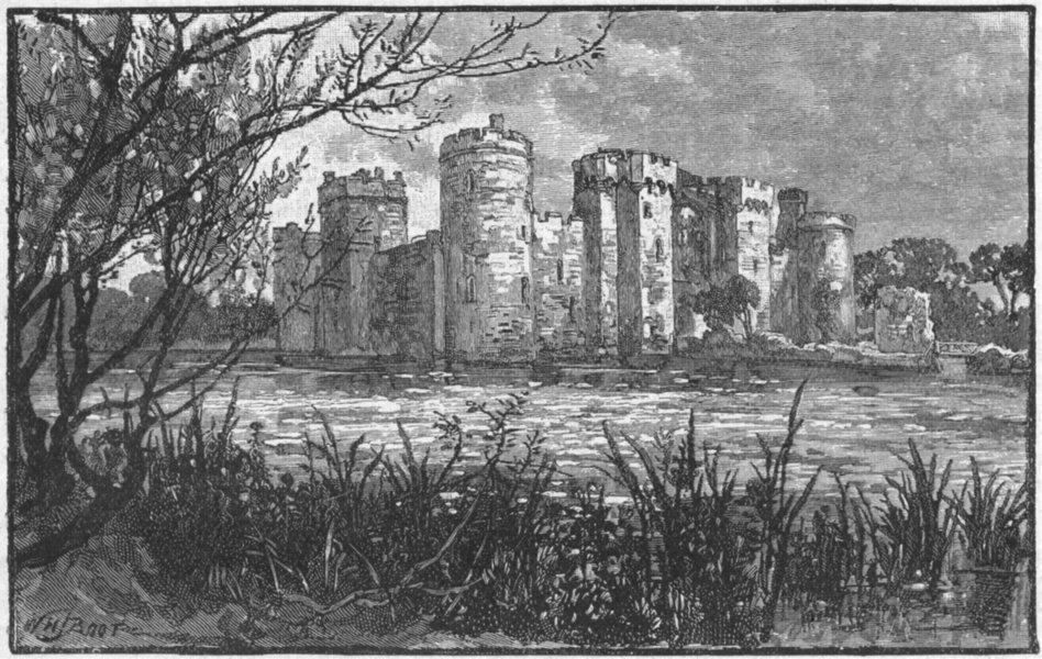 Associate Product SUSSEX. Bodiam Castle 1898 old antique vintage print picture