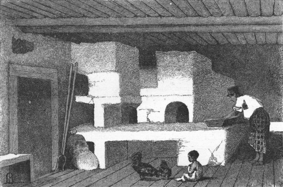 Associate Product RUSSIA. A Peasant's House-Woman making bread 1880 old antique print picture