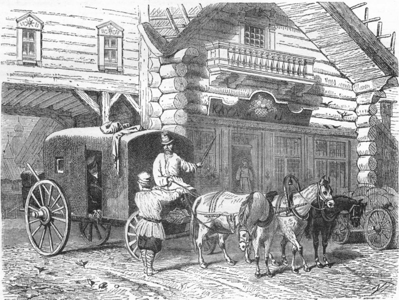 RUSSIA. Stage House & travelling Vozok 1880 old antique vintage print picture