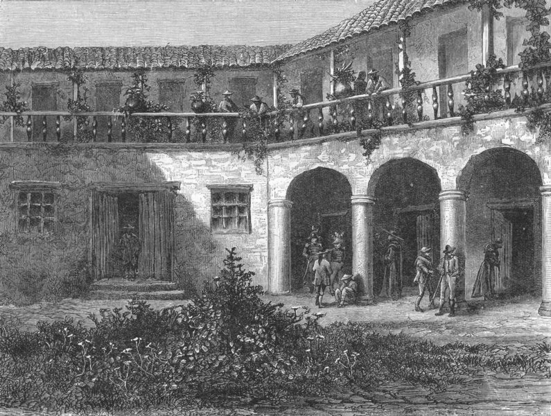 Associate Product BOLOGNA. Courtyard of a Bolognese House 1880 old antique vintage print picture
