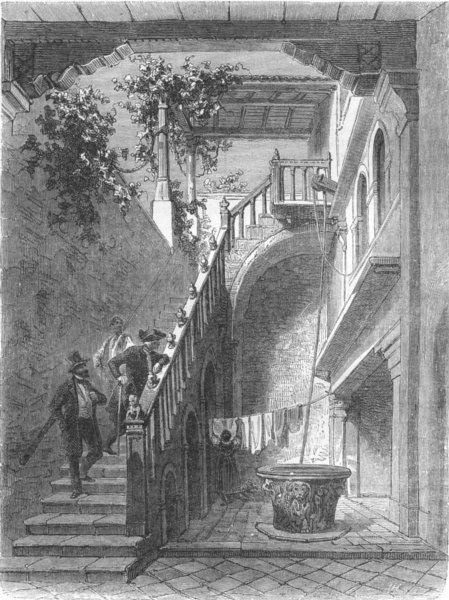 Associate Product VENICE. Casa di Goldoni 1880 antique vintage print picture