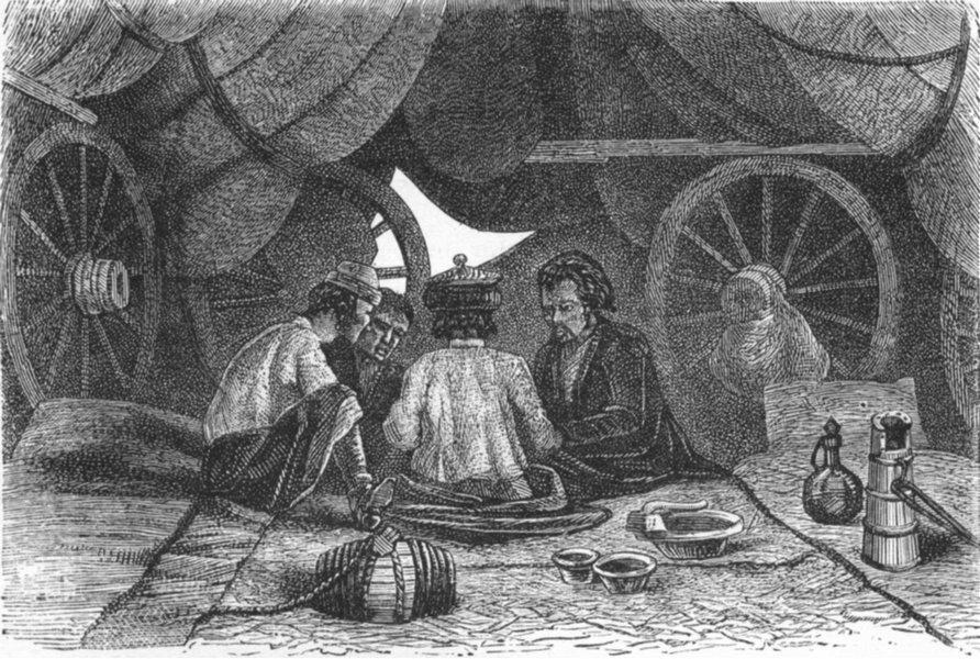 Associate Product RUSSIA. Caravan Halt between Orenburg & Samara 1880 old antique print picture