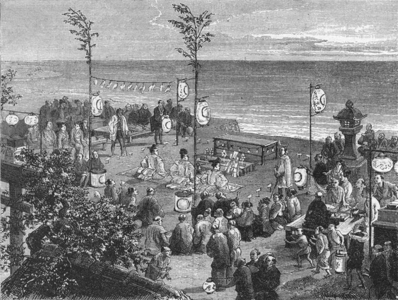 JAPAN. Kami Worship, Sea-Shore 1880 old antique vintage print picture