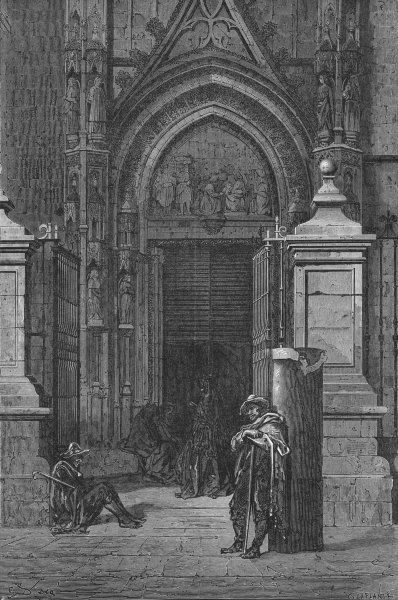 Associate Product SPAIN. Seville in 1867. Church door 1880 old antique vintage print picture