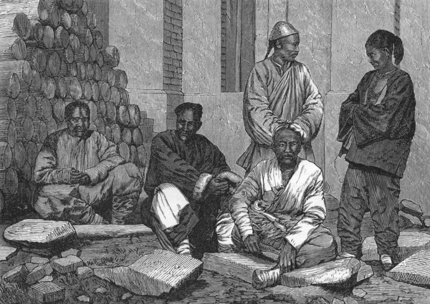 Associate Product CHINA. Natives of Tientsin, Sisters Chapel 1880 old antique print picture