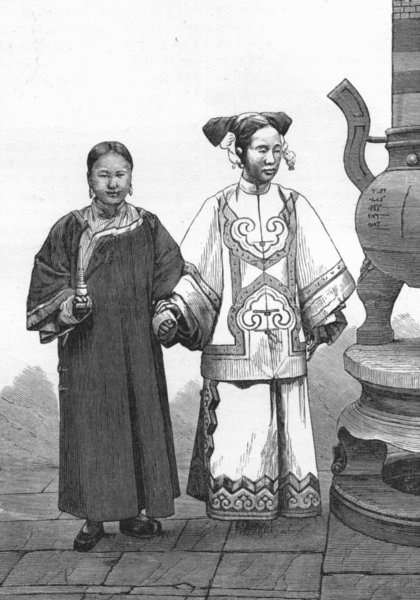 Associate Product CHINA. Tartar Lady & Maid, Beijing 1880 old antique vintage print picture