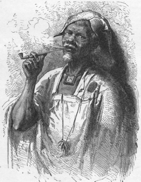 Associate Product AFRICA. South Africa. Native Chief, Central 1880 old antique print picture
