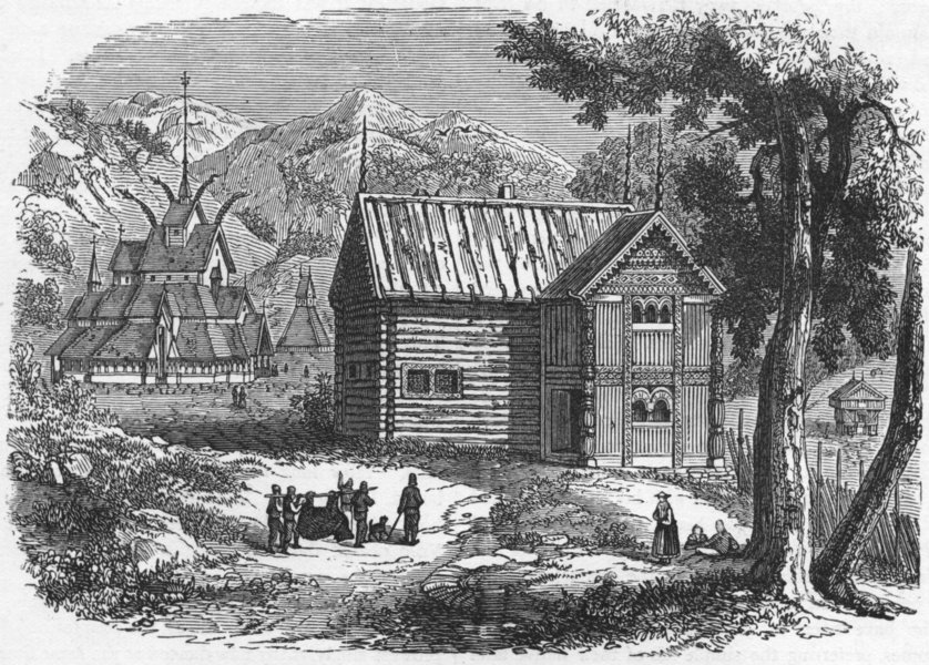 Associate Product NORWAY. Church & House in 1880 old antique vintage print picture