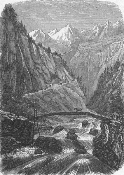 Associate Product NORWAY. Mountain bridge 1880 old antique vintage print picture