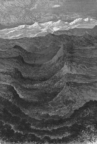 Associate Product PERU. Bird's-Eye valley towards Cordillera 1880 old antique print picture