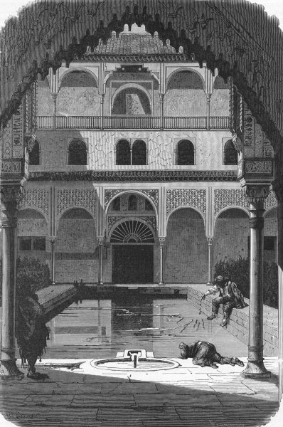 Associate Product SPAIN. Court, Alhambra 1880 old antique vintage print picture