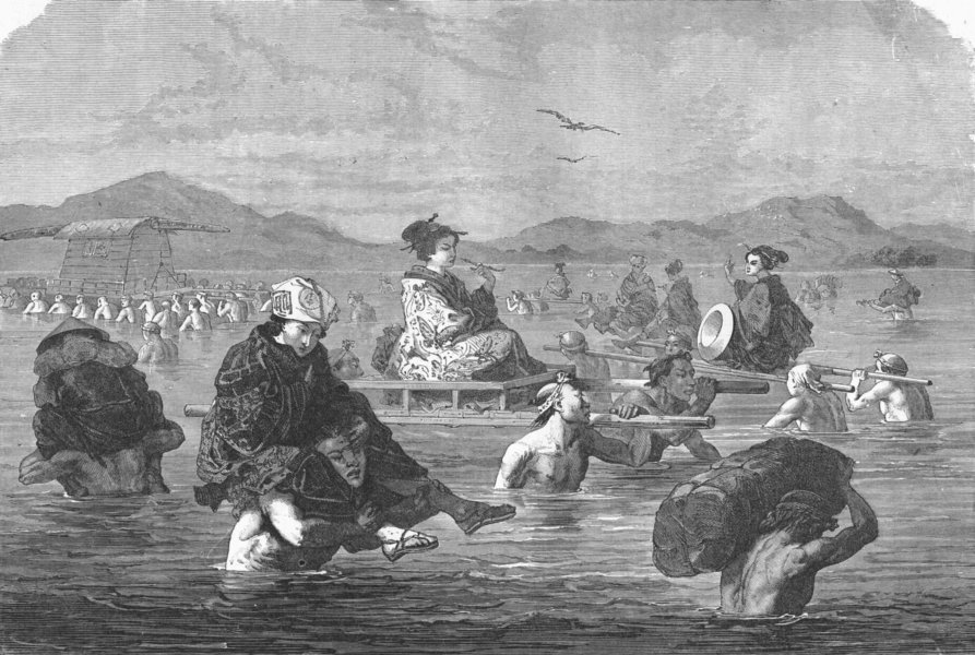 Associate Product JAPAN. Crossing a river 1880 old antique vintage print picture