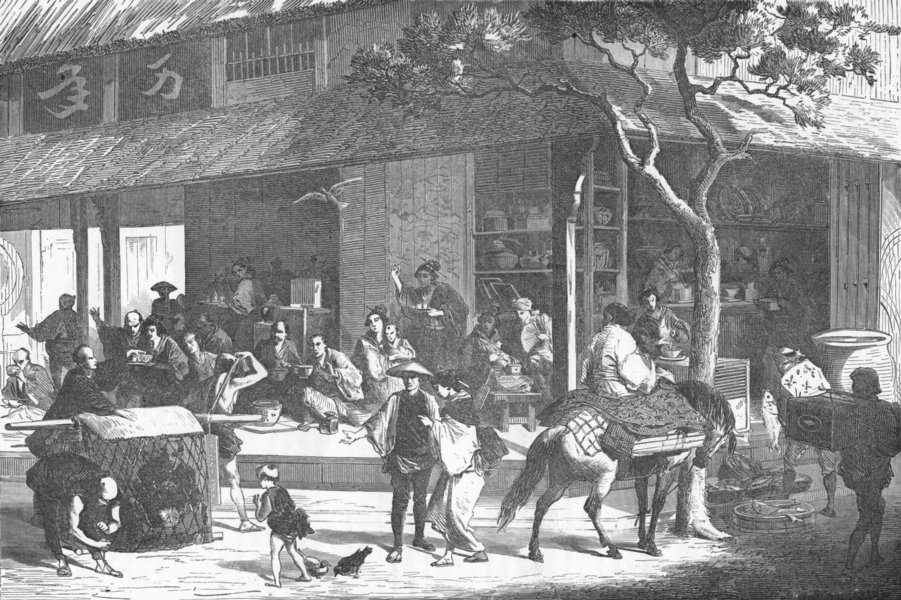 Associate Product JAPAN. A Wayside Inn 1880 old antique vintage print picture