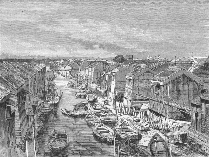 Associate Product JAPAN. A canal, Mercantile Tokyo 1880 old antique vintage print picture