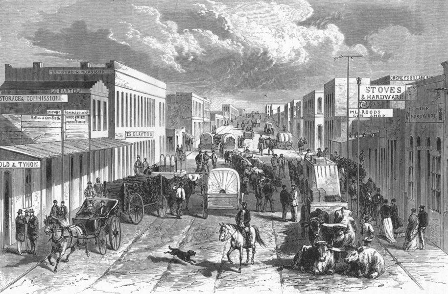 Associate Product TOWNS. A town, Plains 1880 old antique vintage print picture