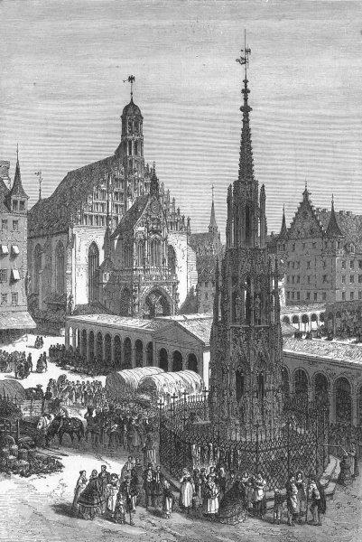 Associate Product GERMANY. Schonebrunnen at Nuremberg 1880 old antique vintage print picture